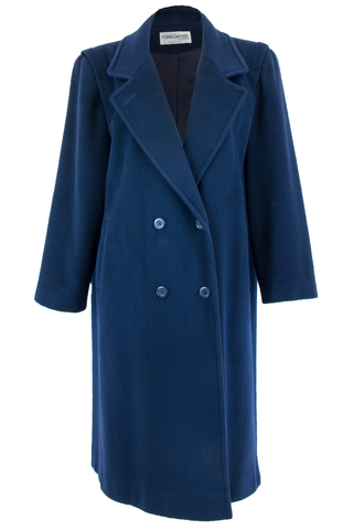 Front view of American made vintage navy blue double-breasted wool overcoat with lapel collar and pockets at hip.
