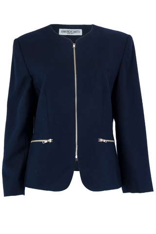 Vintage wool jacket in dark blue with silver hardware