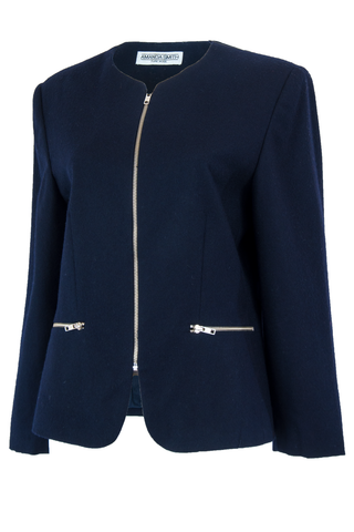 Dark blue jacket with silver hardware