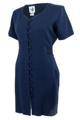 vintage navy blue dress with button closure front and short sleeves