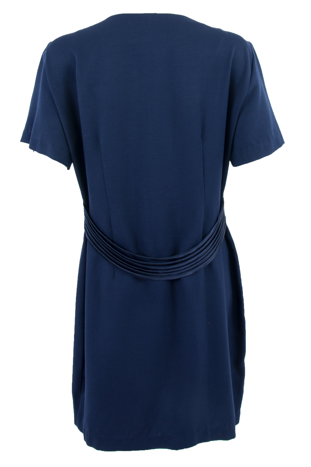 vintage navy blue dress with satin belt waist and short sleeves