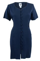 navy blue dress with button closure front and short sleeves