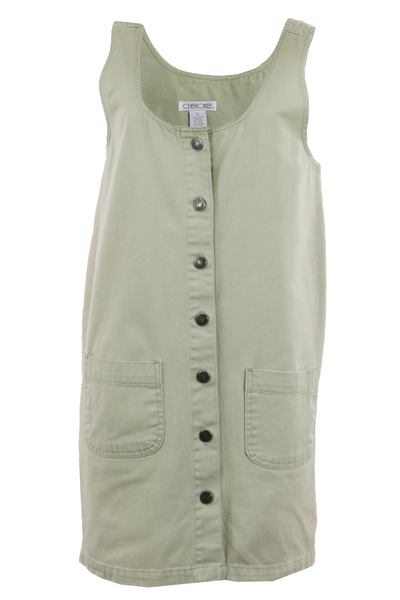 overall dress in olive green