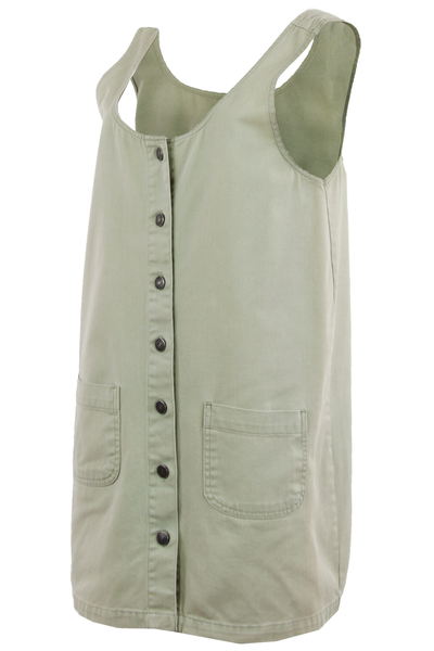 button front dress in olive green