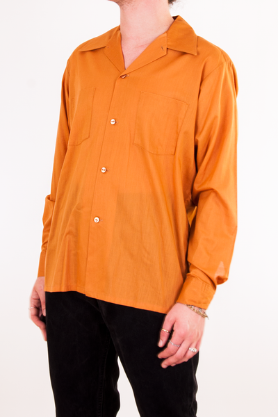 vintage orange button up shirt