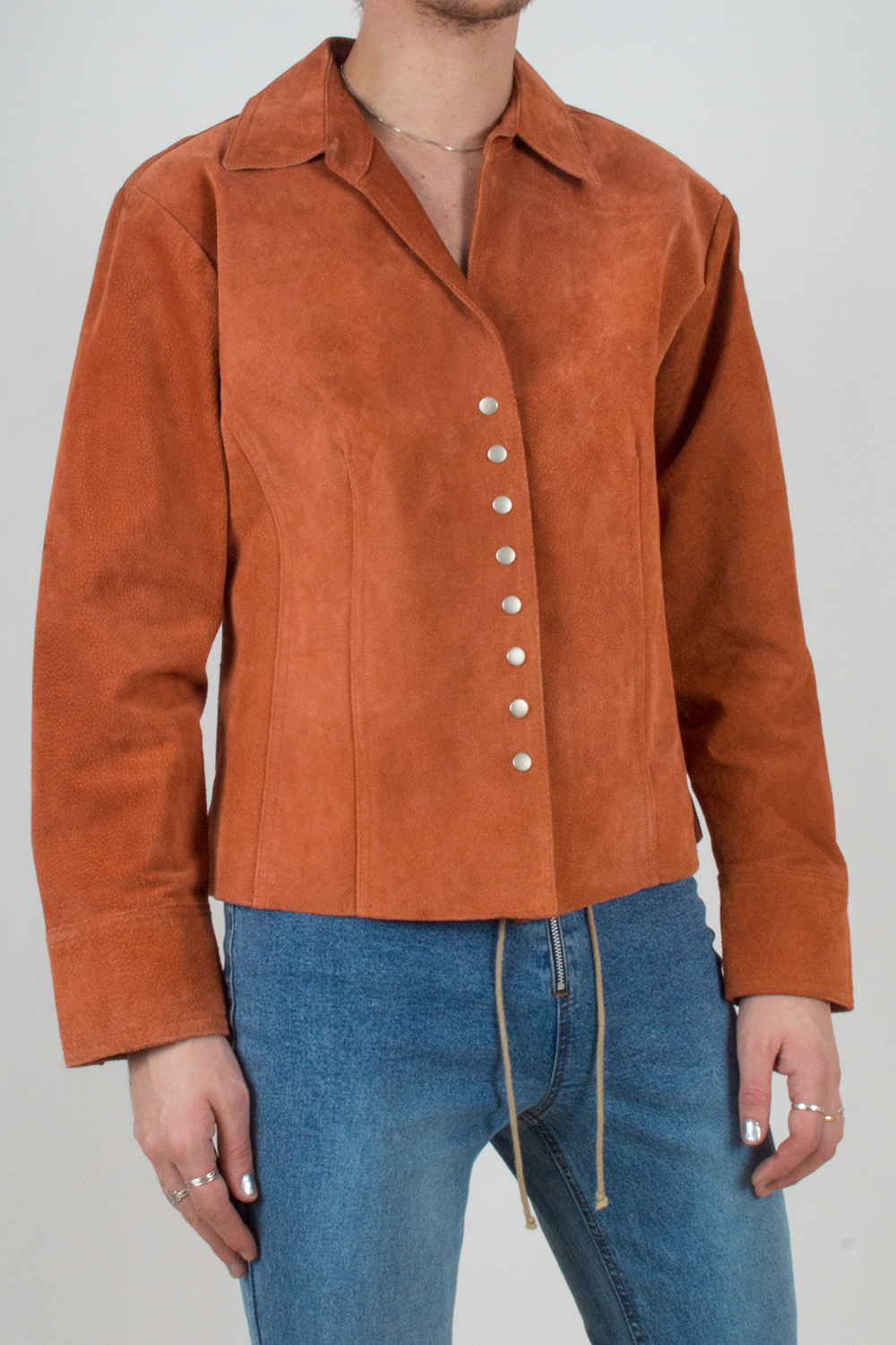 vintage orange suede jacket with silver snap buttons