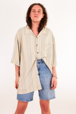 Oversized silk striped shirt