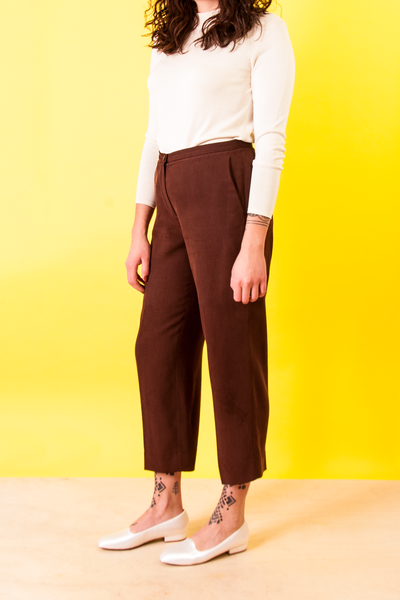 vintage red silk slacks