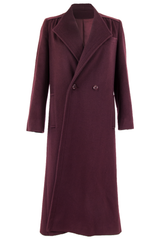 vintage oxblood wool coat with wide lapel