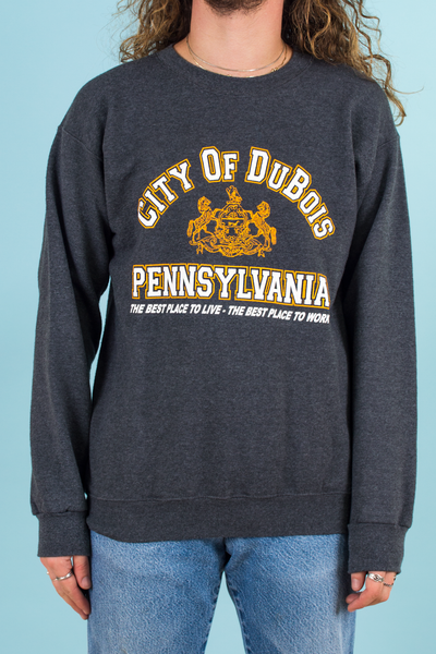 vintage grey sweatshirt with Dubois Pennsylvania graphic