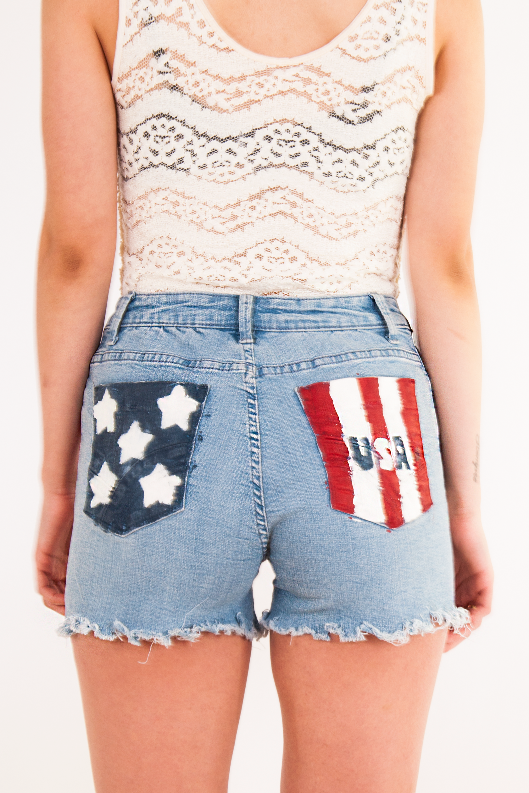 americana painted jean shorts