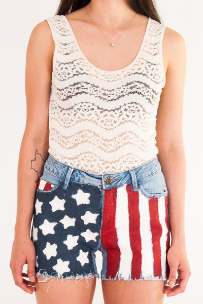 vintage denim shorts with painted american flag