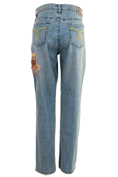 vintage blue jeans with painted flower