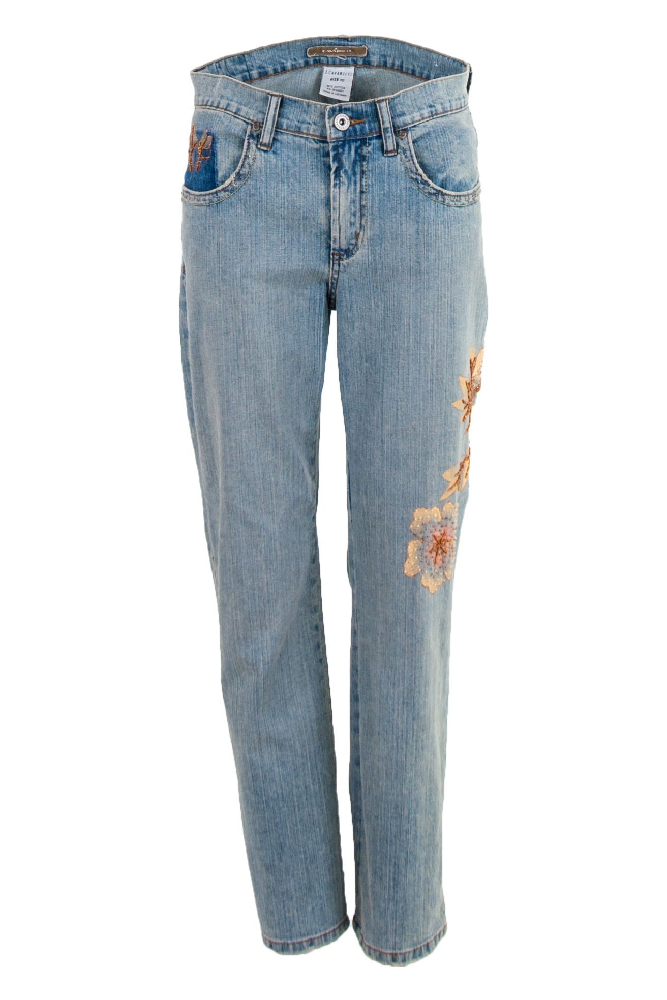 vintage blue jeans with painted flowers