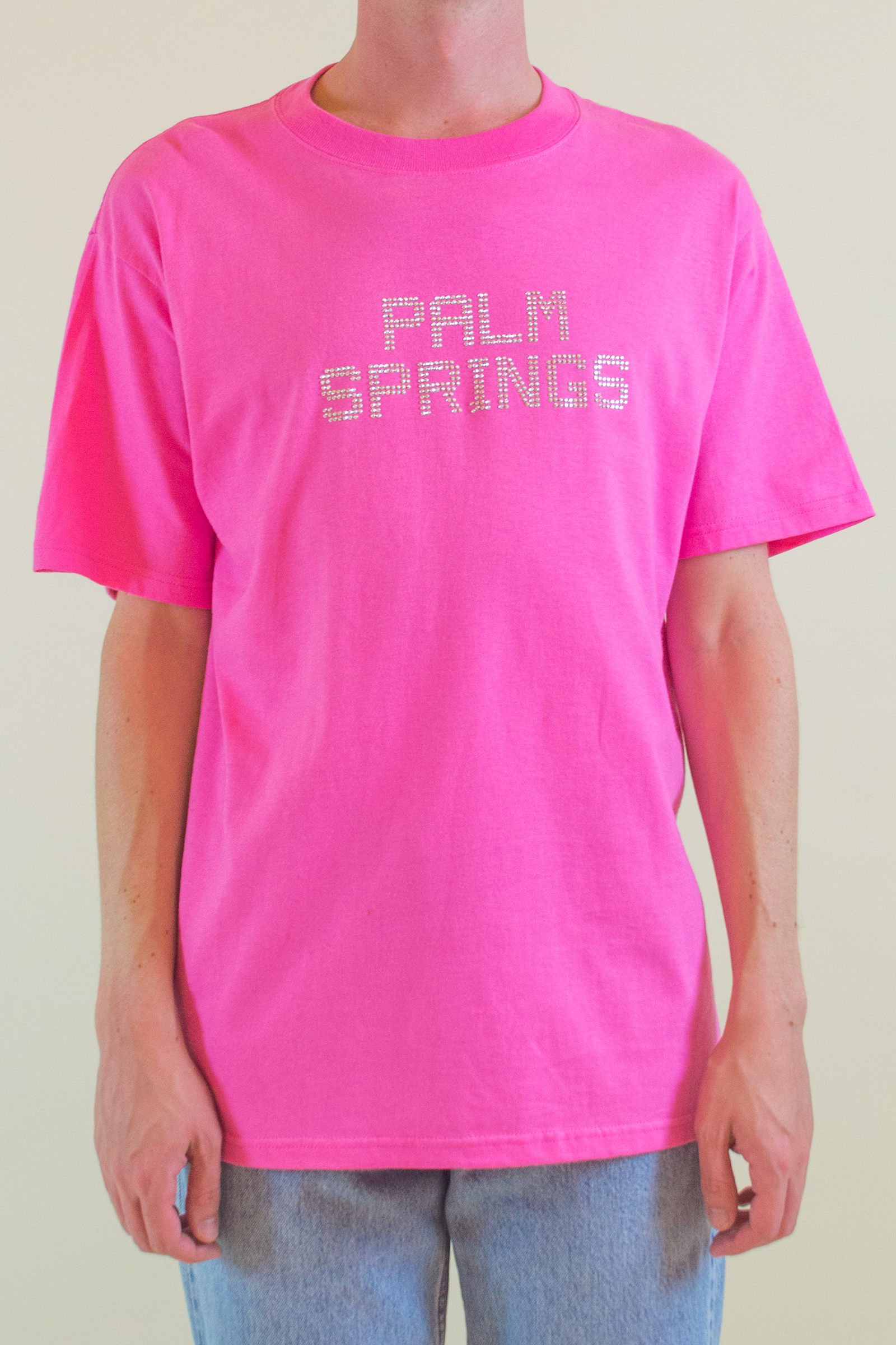 vintage pink t-shirt with rhinestoned Palm Springs embellishment