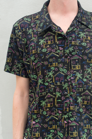 tropical vintage print shirt