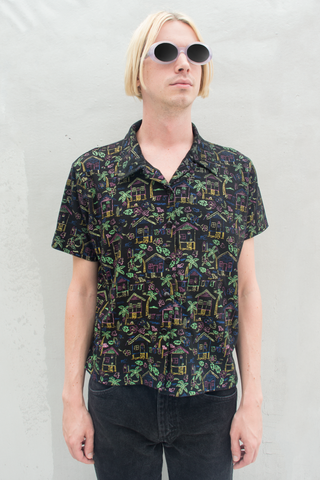 vintage tropical camp collar shirt