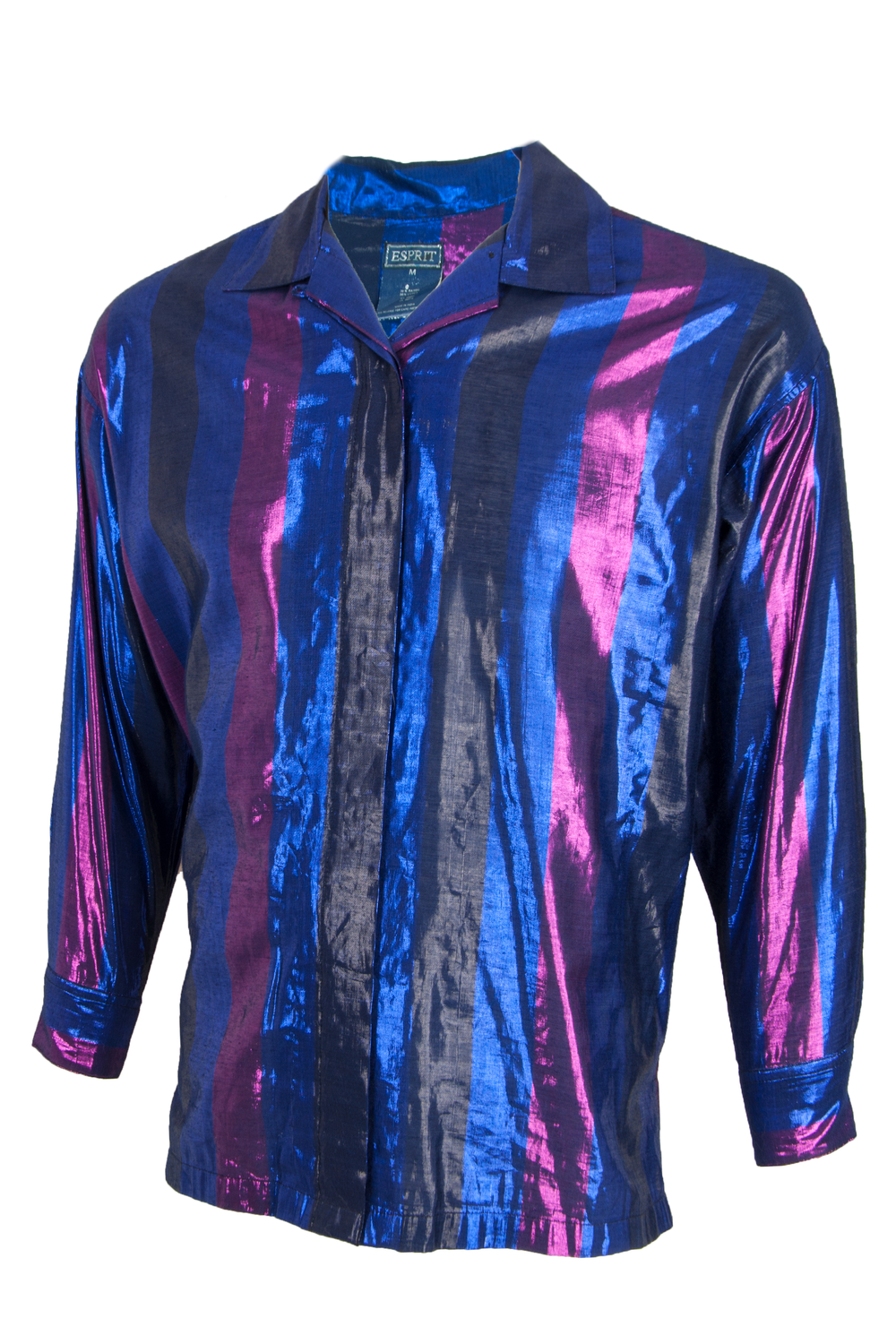 Vintage iridescent shirt featuring blue with pink stripes and button front closure