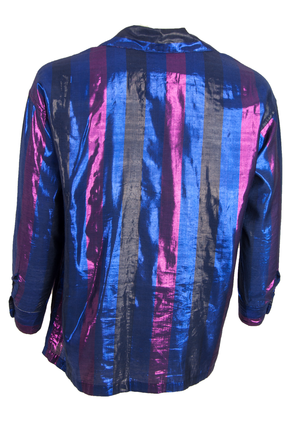 Vintage iridescent button up shirt with blue and pink stripes