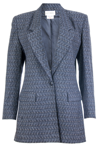 Vintage grey jacquard jacket with multi color pattern throughout and peaked lapel collar.