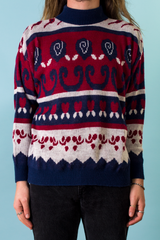vintage pattern sweater with mock neck