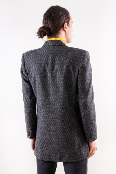Vintage Textured Jacquard Coat in Grey