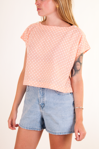 Peach Polka-Dot Crop Top