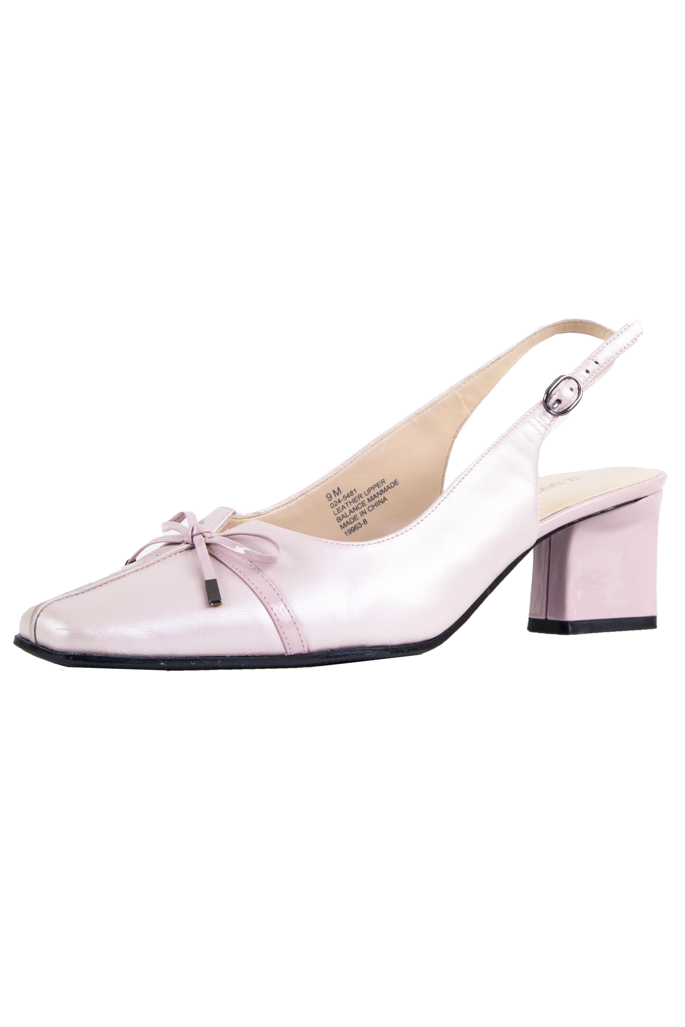 vintage pink pearl shoes with bow embellishment and slingback strap