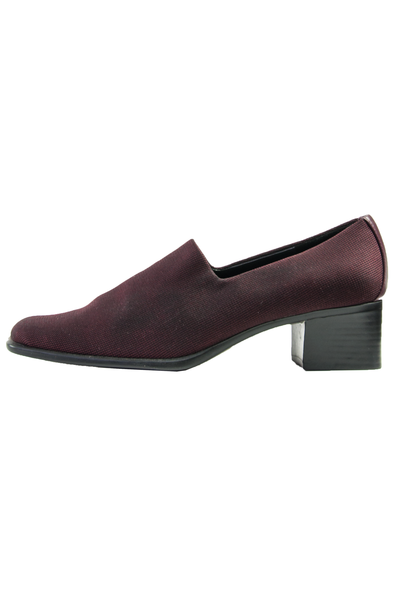 Vintage maroon pumps with black wood heel
