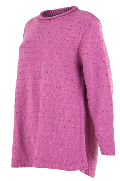 pink sweater with mock neck