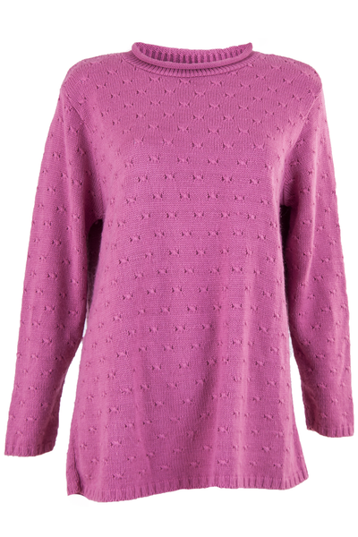 vintage pink sweater with mock neck