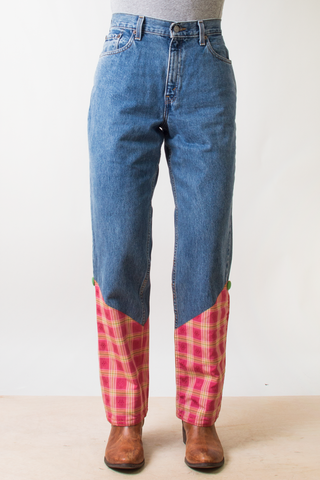 vintage pink plaid embroidered Levi's jean