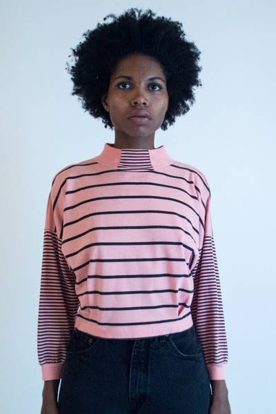 vintage pink and black striped top
