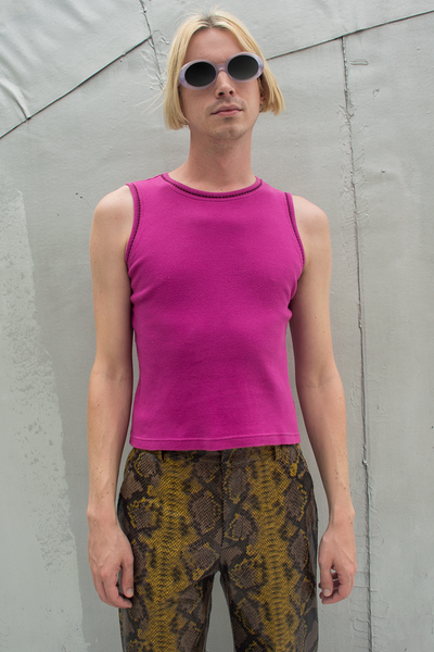 vintage pink tank top with snake print pants