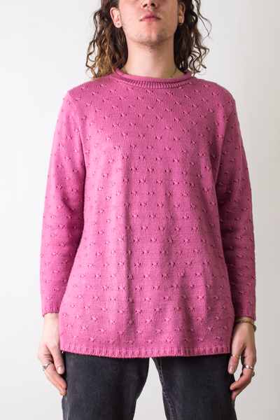 vintage pink sweater with rolled neck