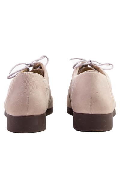 vintage pink oxford derby shoes with purple laces