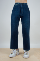 wide leg vintage jeans in dark blue