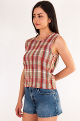 vintage plaid tank top in red