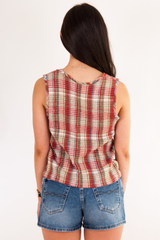 vintage tank top in red plaid