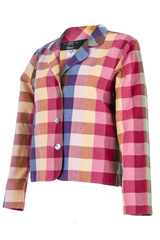 plaid multi-color blazer