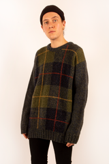 vintage oversized plaid wool sweater