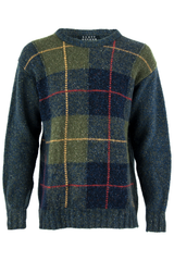 Vintage grey plaid sweater featuring shades of green and blue with wool knit construction.