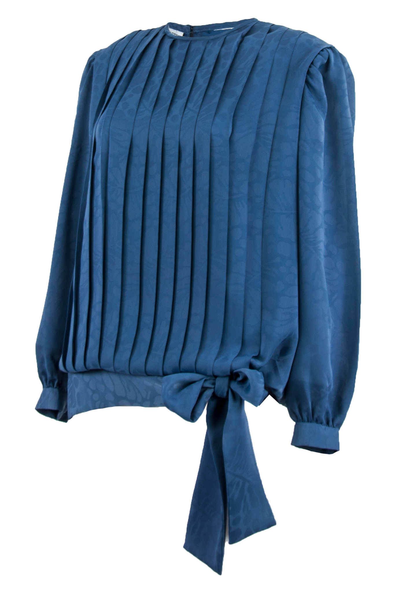 blue pleated blouse with bow tie ribbon at hip