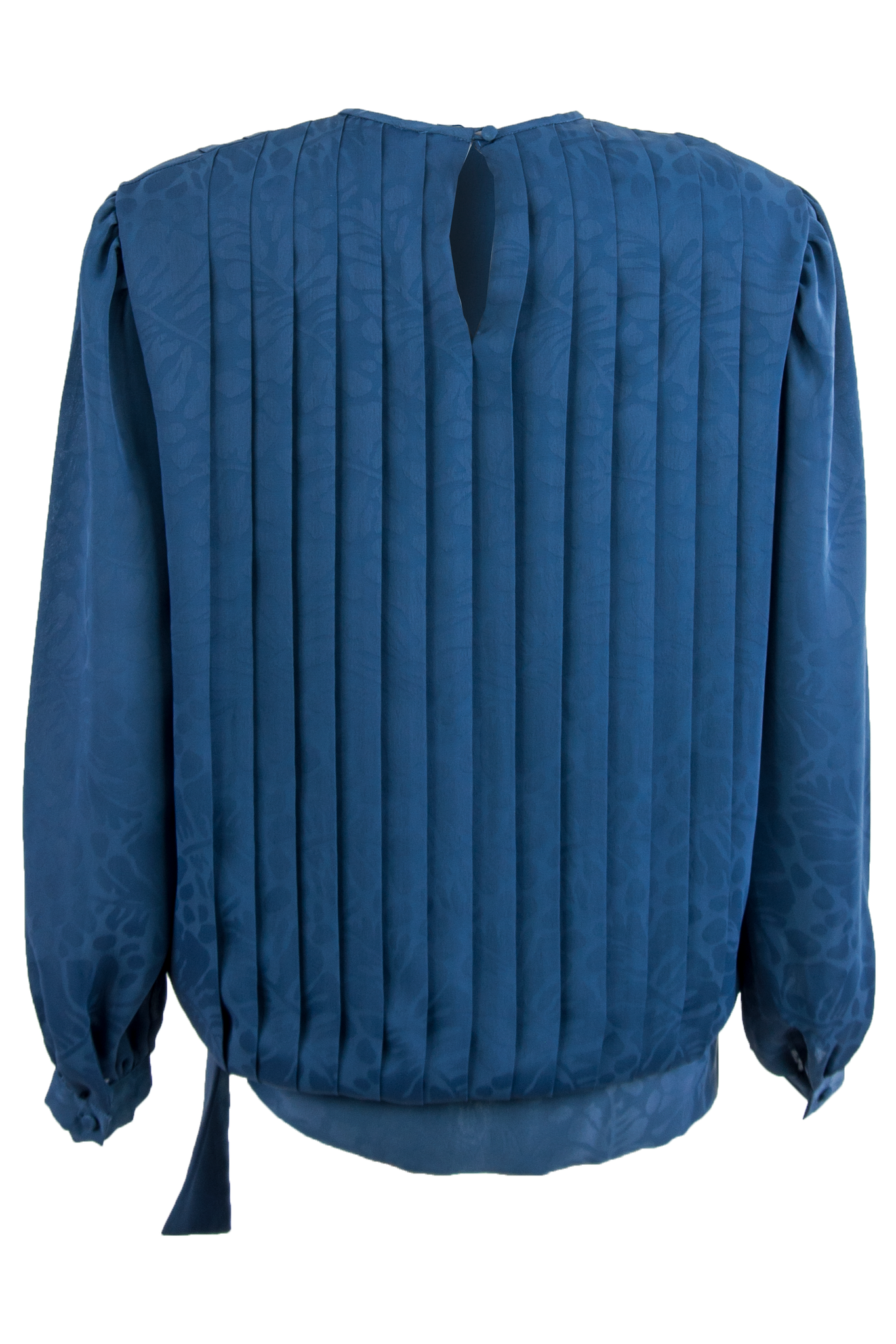blue pleated blouse with keyhole closure