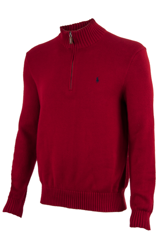 Vintage Polo Ralph Lauren Sweater in red with mock neck zip collar.