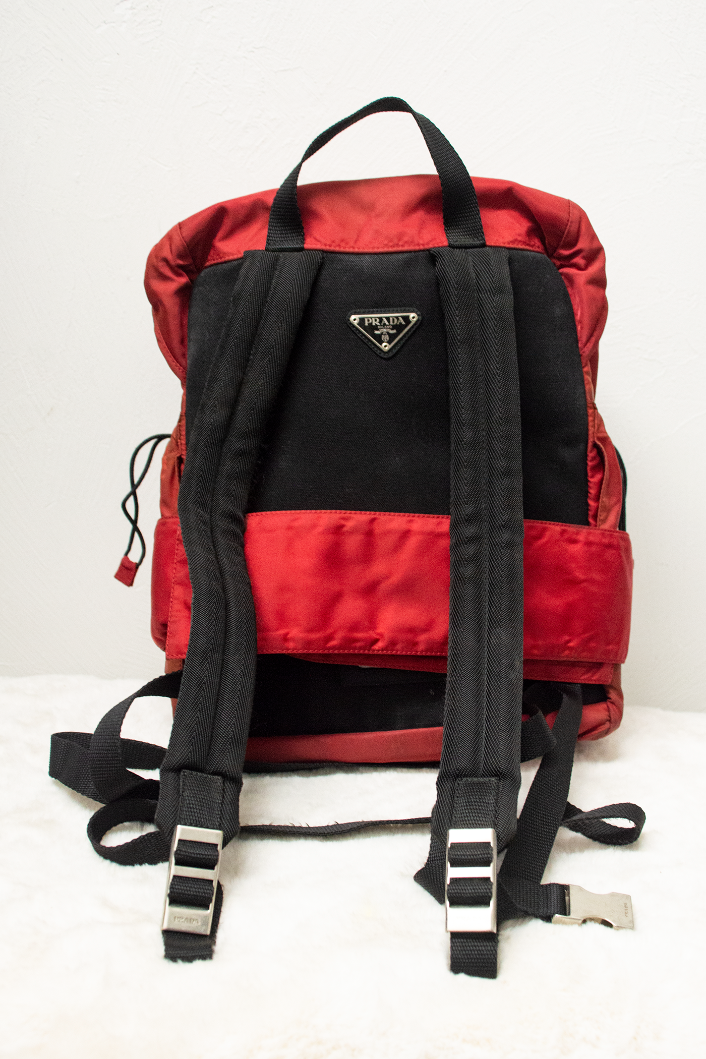 vintage red Prada tessuto backpack