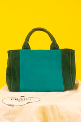vintage Prada canapa tote in green and turquoise
