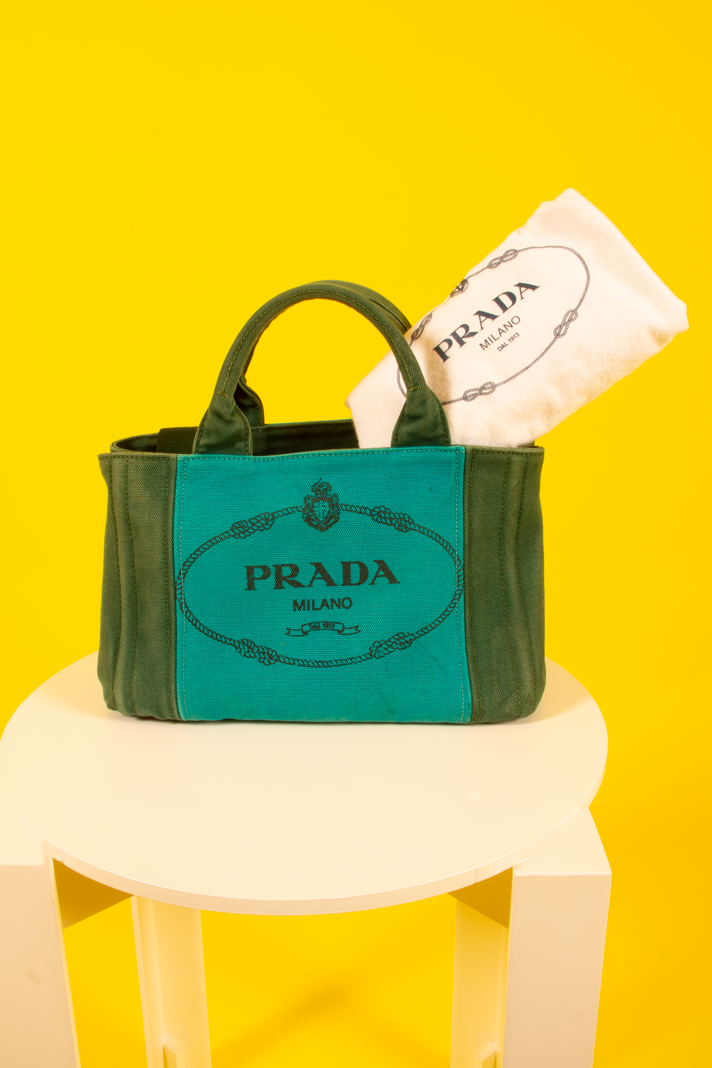 vintage Prada canapa tote in green and turquoise with dust bag