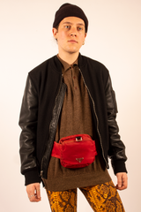 vintage Prada tessuto waist bag in red