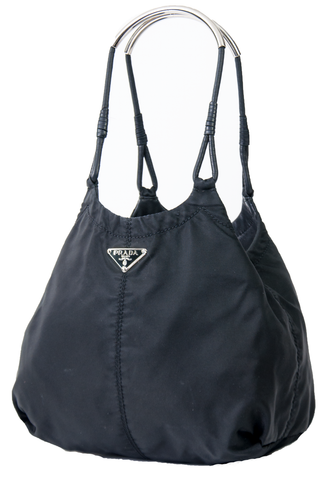 Prada tessuto bag with metal handles and leather trim